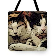 Cats In Bed Tote Bag by KR Moehr