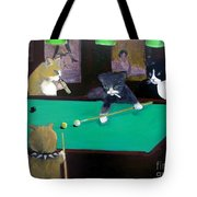 Cats Playing Pool Tote Bag