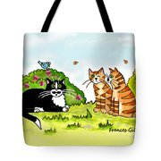 Cats Talking In A Sunny Garden Tote Bag