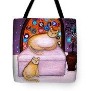 Cats Waiting Tote Bag