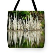 Cattail Reflection Tote Bag