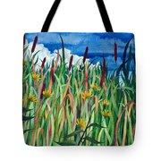 Cattails Tote Bag by Helen Klebesadel
