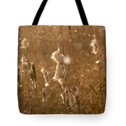 Cattails In Snowstorm 3 Tote Bag