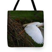 Cattle Egret Begins Flight With Nest Materials - Digitalart Tote Bag