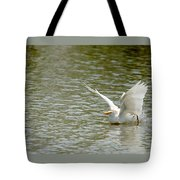 Cattle Egret Cooling Off In The Lake Tote Bag