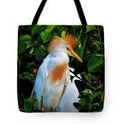 Cattle Egret Mohawk Tote Bag