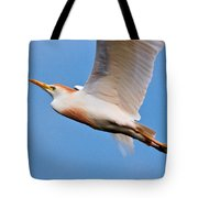 Cattle Egret On The Wing Tote Bag