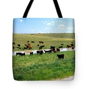 Cattle Graze On Reclaimed Land Tote Bag