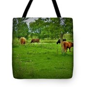 Cattle Grazing In A Lush Pasture Tote Bag