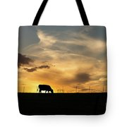 Cattle Sunset Silhouette Tote Bag