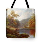 Cattle Watering Along The River Wharfe Tote Bag