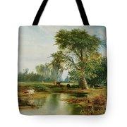 Cattle Watering Tote Bag by Thomas Moran