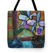 Cattleya Orchid And Frog By The Window Tote Bag