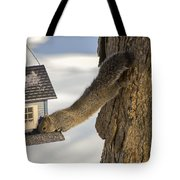 Caught At The Bird Feeder Tote Bag