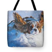 Cavalier King Charles Spaniel Blenheim In Snow Tote Bag by Lee Ann Shepard