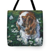 Cavalier King Charles Spaniel With Butterfly Tote Bag by Lee Ann Shepard