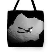 Cave Diver - Bw Tote Bag by Dave Fleetham - Printscapes