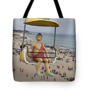 Caveman Above Beach Santa Cruz Boardwalk Tote Bag