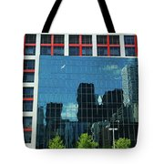 Cbc Building Tv Screen Of Downtown Highrises Tote Bag