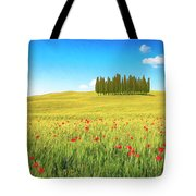 Cedar Grove And Poppies Tote Bag