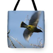 Cedar Waxwing In Flight Tote Bag
