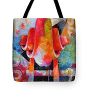 Cello Head In Blue And Red Tote Bag