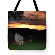 Cemetery Sunset. Tote Bag
