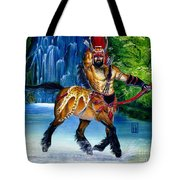 Centaur In Waterfall Tote Bag