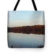 Centennial Lake Autumn - Reflective Moon Over The Lake Tote Bag