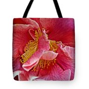 Center Of A Pink Camellia At Pilgrim Place In Claremont-california  Tote Bag