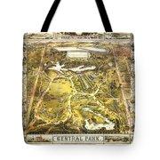 Central Park Map, Manhattan New York, 1863 Tote Bag