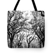 Central Park Nyc In Black And White Tote Bag