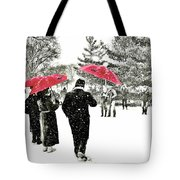 Central Park Snow And Red Umbrellas Tote Bag