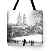 Central Park Snow Lakeside Tote Bag