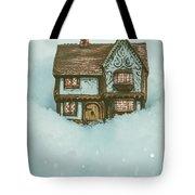 Ceramic Cottage In Snow Tote Bag