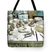 Ceramic Objects And Brushes On The Table Tote Bag