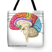 Cerebral Cortex Areas, Illustration Tote Bag