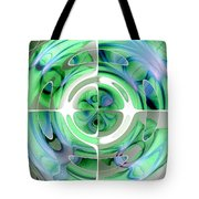 Cerulean Blue And Jade Abstract Collage Tote Bag