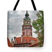 Cesky Krumlov Castle Tower In Cesky Krumlov Of The Czech Republic Tote Bag