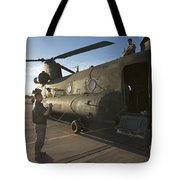 Ch-47 Chinook Crew Preparing To Load Tote Bag
