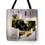 Chair On Balcony In Mykonos Tote Bag