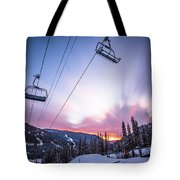 Chairlift Sunset Tote Bag