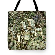 Chairs In Backyard Tote Bag