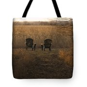 Chairs Overlook A Scenic Pasture Tote Bag