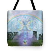Chalice Over Stonehenge In Flower Of Life And Man Tote Bag