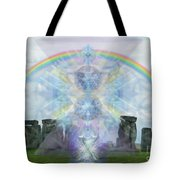 Chalice Over Stonehenge In Flower Of Life Tote Bag