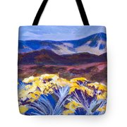 Chamisa And Mountains Of Santa Fe Tote Bag