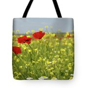 Chamomile And Poppy Flowers Meadow Tote Bag