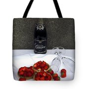 Champagne Bottle With Strawberry Tarts And 2 Glasses Tote Bag