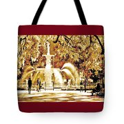 Champagne Twilight Forsyth Park Fountain In Savannah Georgia Usa  Tote Bag